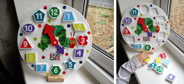 Very hungry Caterpillar toys, wooden learning clock, wooden shape and numbers toy