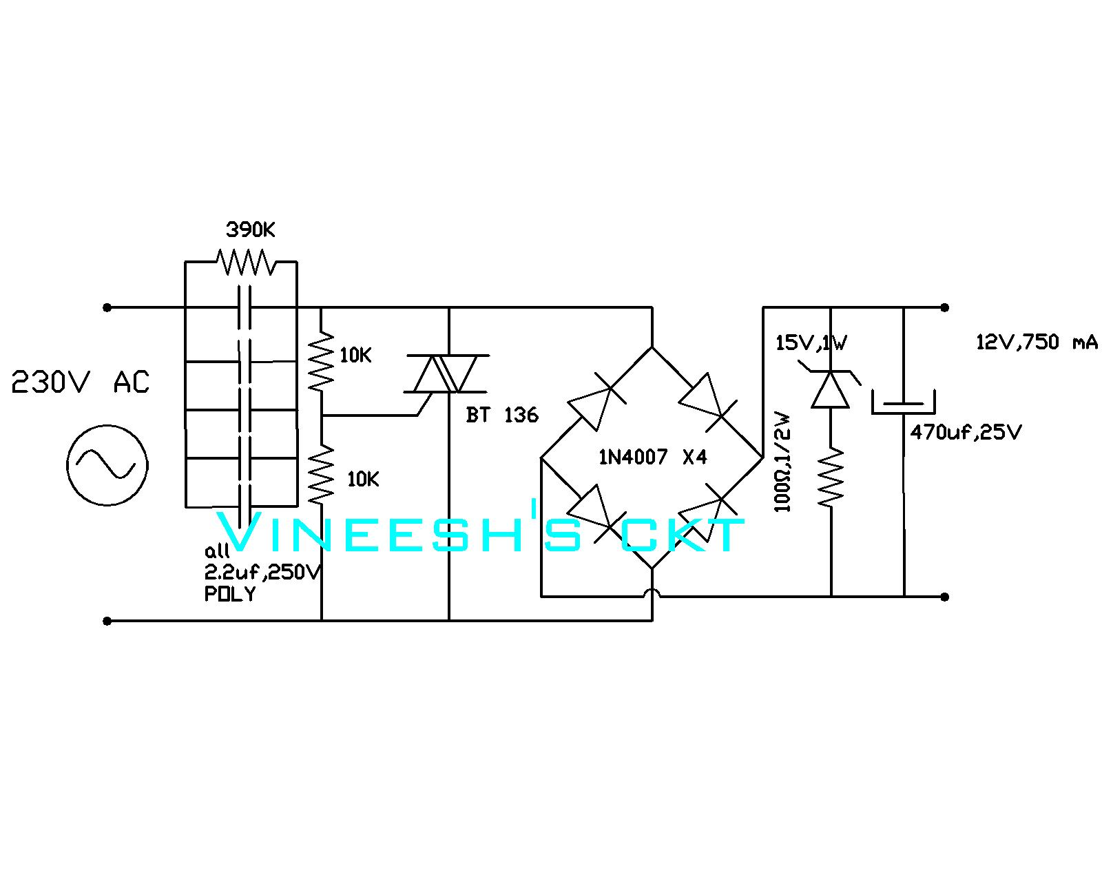 Simple Circuits Vineetron Transformerless Power Supply