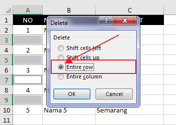 Delete Entire Row Excel