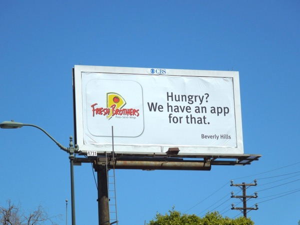 Fresh Brothers pizza app billboard