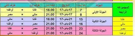 مواعيد مباريات المجموعة الرابعة التي تلعب بها مصر