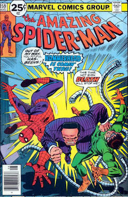 Amazing Spider-Man #159, Hammerhead smashes through Spidey and Dr Octopus