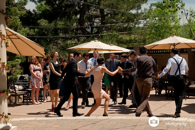 photography of guests dancing at a wedding reception in Colorado