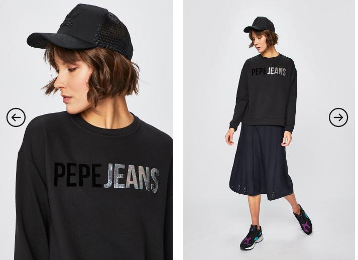 Pepe Jeans - Bluza Mickey neagra moderna originala cu logo negru
