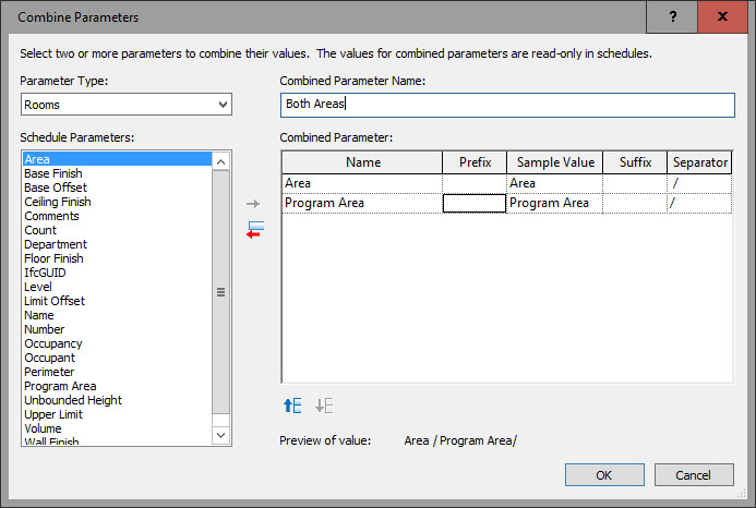 Revit oped revit 2017 combine parameters in a schedule for Get table th width