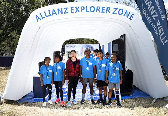 Allianz supports five Aeta youths from Villa Maria Integrated School in their quest to be part of the OCR national team pool.                 (L-R): Gellyann B. Soria; Ivy O. Pelayo; Ms. Gae Martinez, Chief Marketing Officer, Allianz PNB Life; Jacob D. King; Danilo B. Yugyug; and Miracle D. Lansang