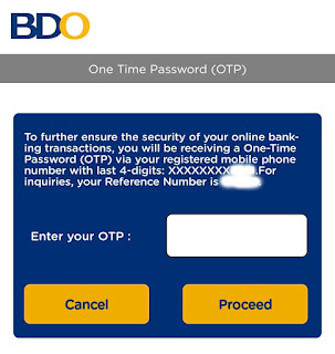 BDO OTP Password