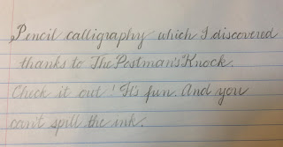 Lined paper with sample of pencil calligraphy