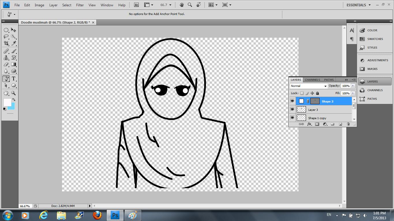 Hasil Lukisan Doodle Muslimah Bicara Nasuha Lukisan Doodle Hitam Putih