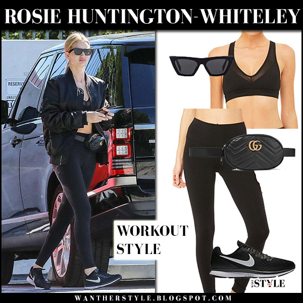 Rosie Huntington-Whiteley in black bomber jacket, black leggings alo yoga and black sneakers nike air zoom pegasus off duty model style april 17