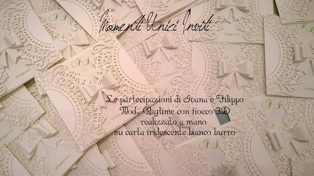 ivanafilippo Il mod. Ragtime personalizzato per Ivana e Filippo... nei toni del bianco burro con un pizzico di verde melaColore Bianco Colore Panna Partecipazioni intagliate