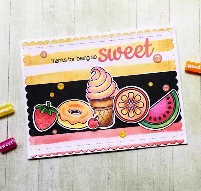 Sunny Studio Stamps:  Sweet Shoppe and Fresh & Fruity card by Tina