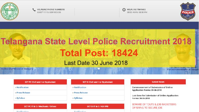 Telangana State Level Police Recruitment 2018