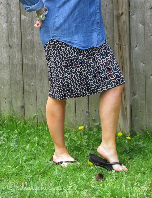 Black and White Graphic Print Skirt for Spring - Styled with a Denim Shirt