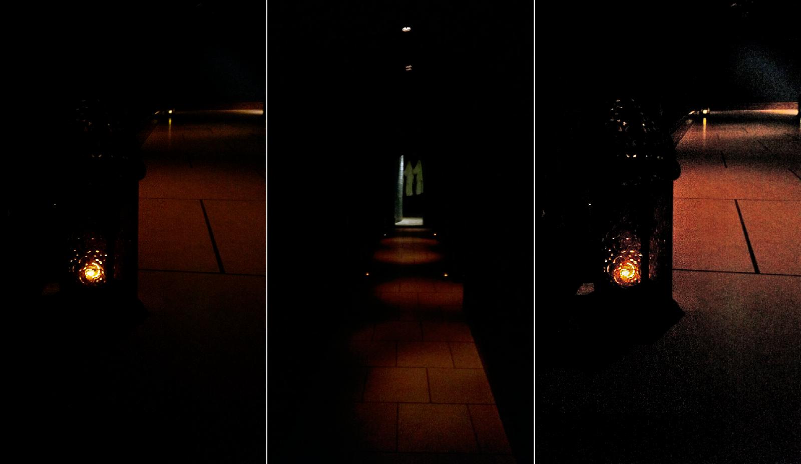 lit lanterns at the spa
