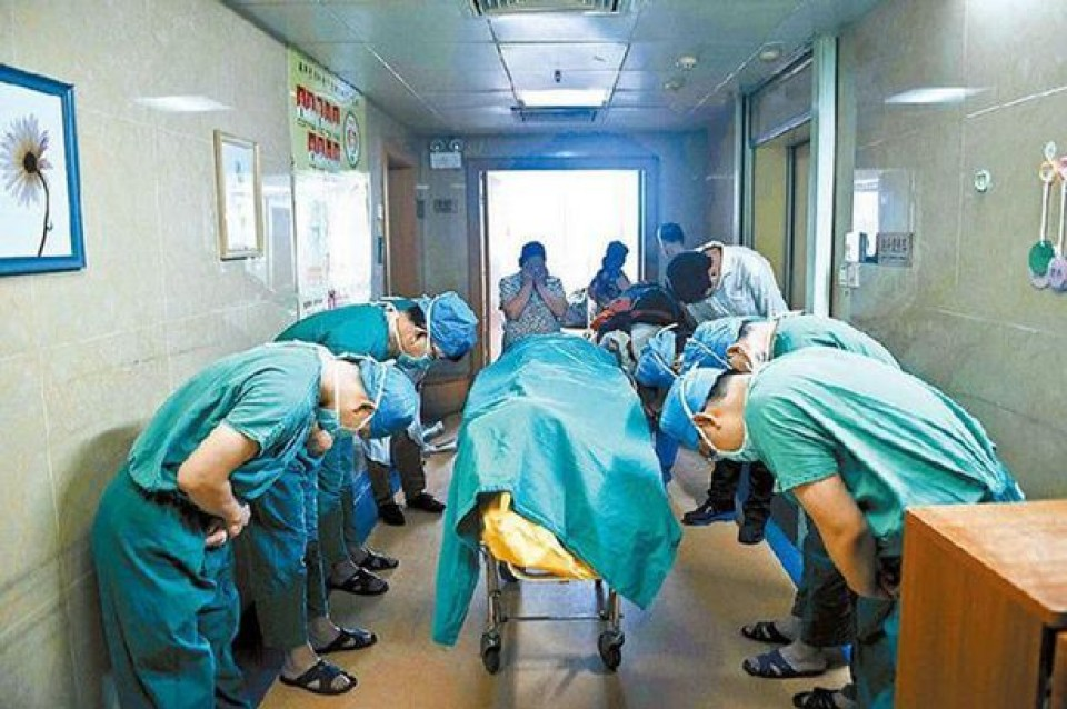 The young patient in the bed was an eleven-year-old boy who had an inoperable brain tumour. The medical staff bow to him in gratitude and respect