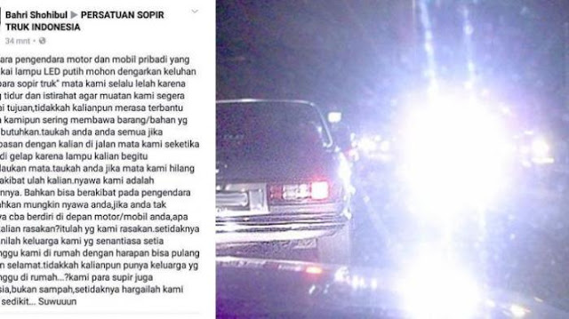 Keluhan Sopir Truk yang Nyawanya Terancam Karena Silau lampu HID, LED Mobil dan Motor