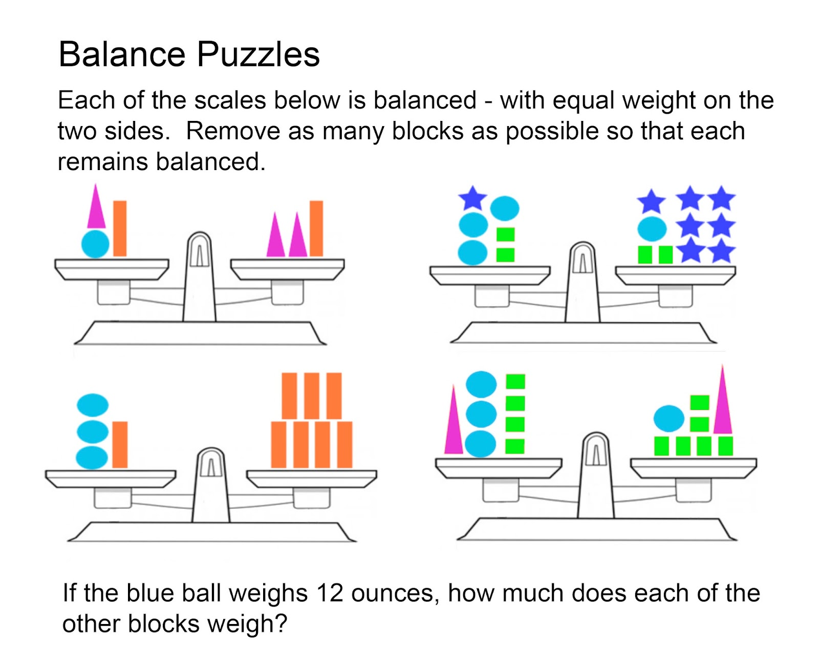 Math Problems Balance Puzzles