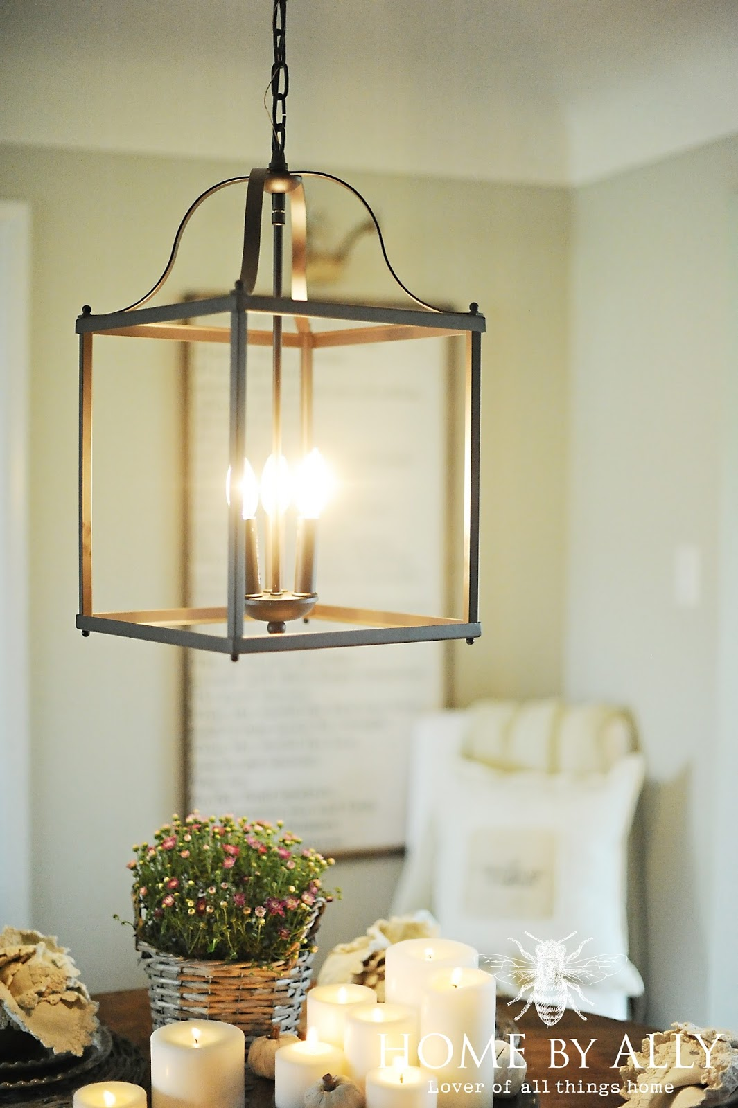kitchen table light fixture chair pads farmhouse fall home tour by ally