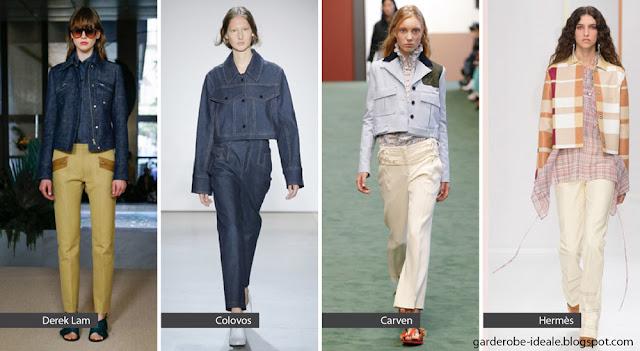 Укороченные жакеты с прямыми брюками на подиуме весна лето 2018