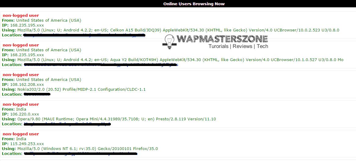 wapka stylish online users details list code xhtml
