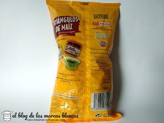Triángulos de maíz tipo Doritos Hacendado de Mercadona elaborados con grasa de palma.
