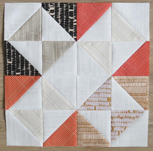 HST Quilt-Along - Intersection block #8 - Carolyn Friedlander fabrics