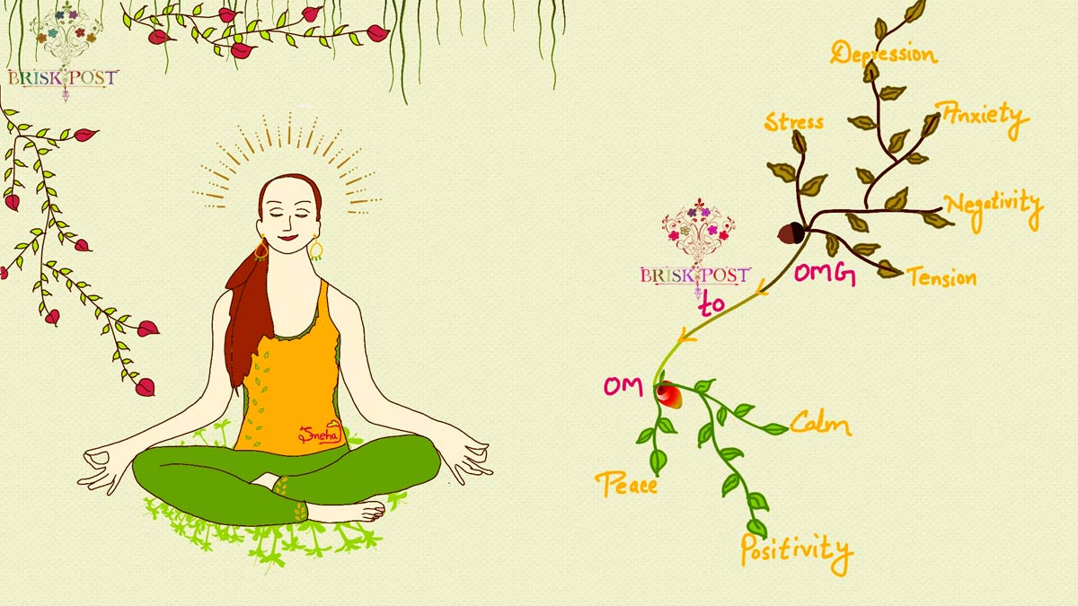 Meditating lady cartoon by Sneha: Yoga and meditation to reduce mental tension, remove depression, relieve stress, control anxiety and negativity and find peace, calm and positivity (OMG to OM)