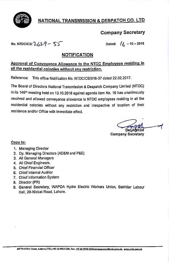 APPROVAL OF CONVEYANCE ALLOWANCE TO THE NATIONAL TRANSMISSION & DESPATCH COMPANY LIMIITED