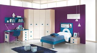 desain kamar tidur ukuran 2x3 Blue Purple Bedroom