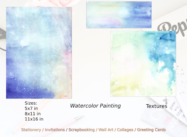 Blue Abstract Landscape Watercolor Painting