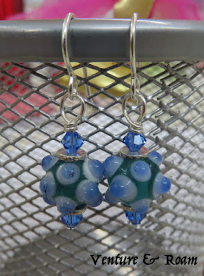 Lampwork beads, Swarovski Crystals, Thai Silver, earrings - Venture & Roam