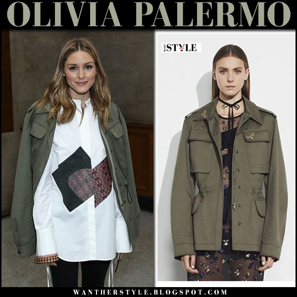 Olivia Palermo in army green canvas jacket markus lupfer and white shirt lfw 2017 what she wore