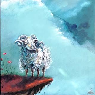får-skruet, galleri, kunst, art, maleri, ayoellploger, får, sheep, ayoe lise, colourfull, interior, landskab, easter, storietelling