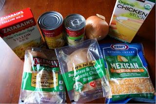Zatarain's Yellow Rice, corn, cream of chicken soup, chicken stock, krafted shredded cheese, organic chicken breasts.