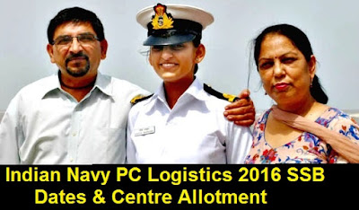 Indian Navy PC Logistics 2016 SSB Dates & Centre Allotment