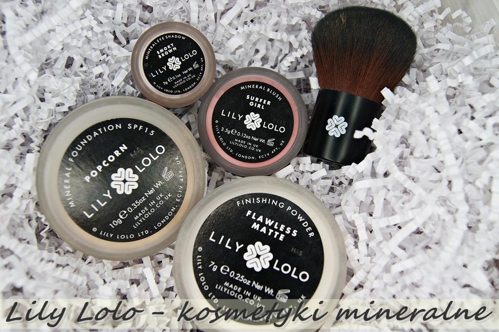 Lily Lolo - kosmetyki mineralne - podkład POPCORN, puder FLAWLESS MATTE, róż SURFER GIRL, pędzel SUPER KABUKI