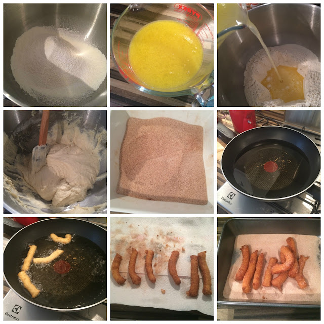 Photos of the Steps for making the Churros
