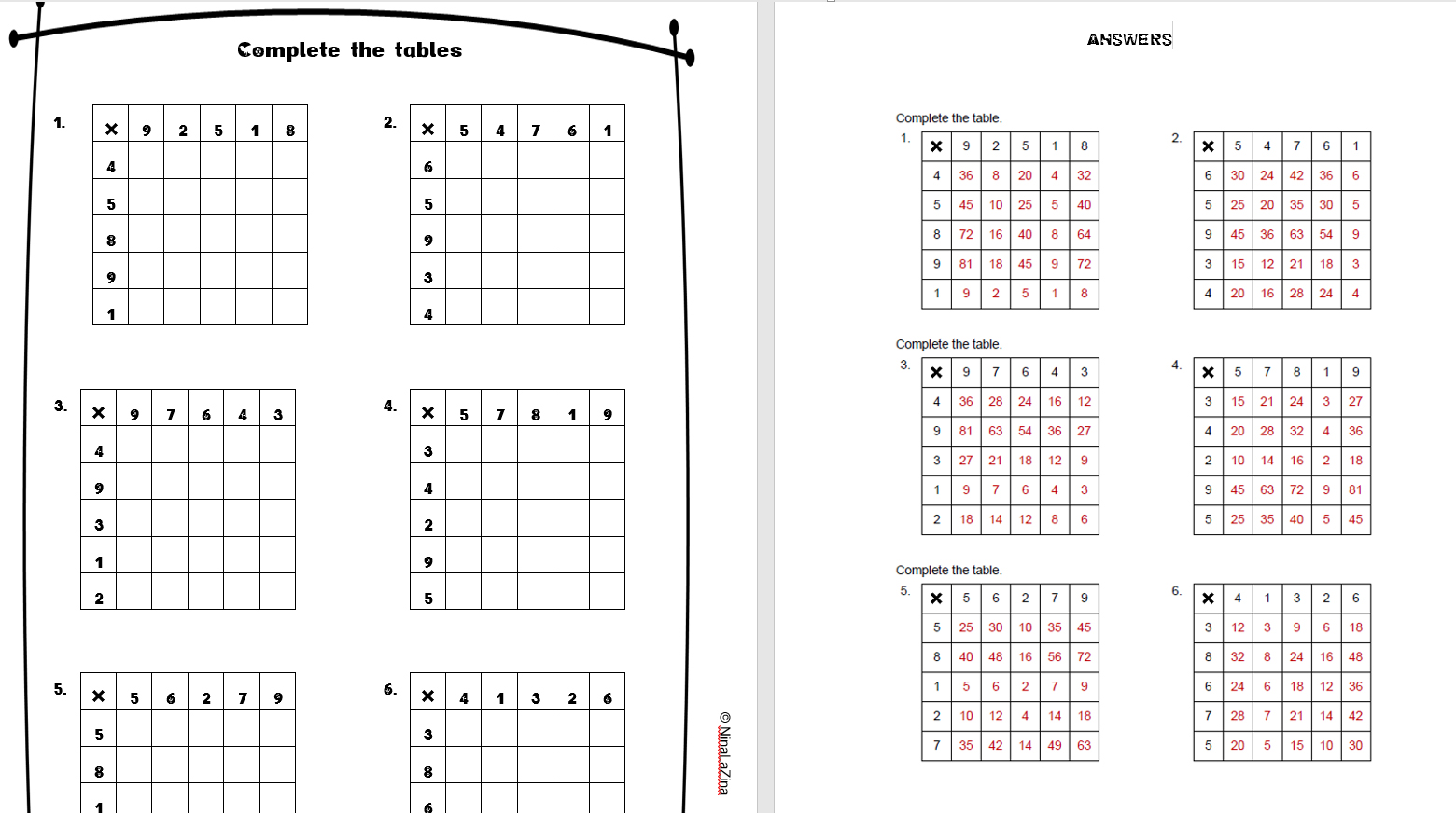 9 Times Table Worksheet 3rd Grade