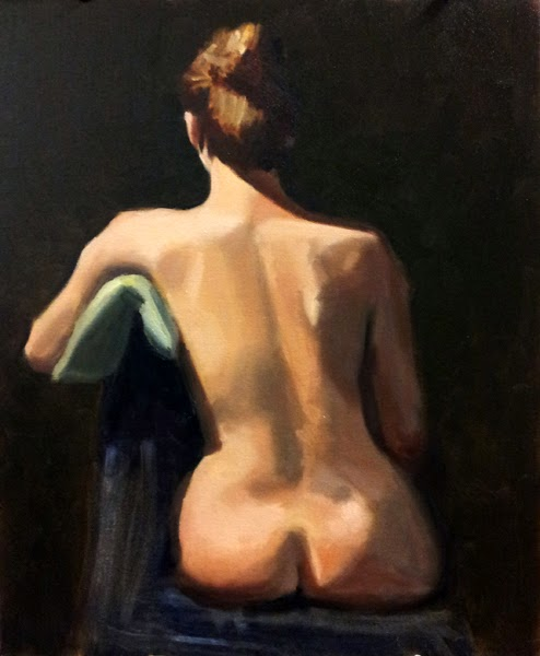 Oil painting of a female nude sitting on a chair, facing away from the viewer with a green cushion under one arm.