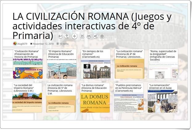 """""""10 juegos y actividades interactivas para el estudio de LA CIVILIZACIÓN ROMANA en 4º de Primaria"""""""