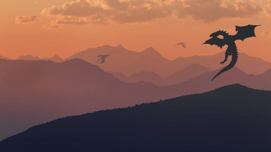Dragons, Fantasy, Mountains, Landscape, Minimalist, Digital Art, 8K, #11