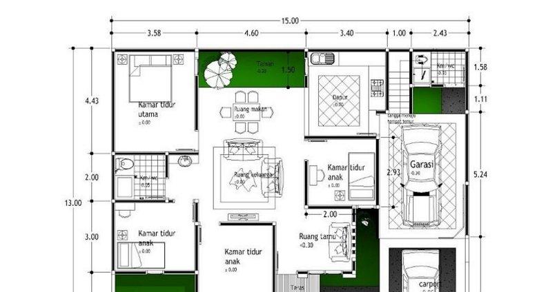 denah rumah ukuran 13x15 modern
