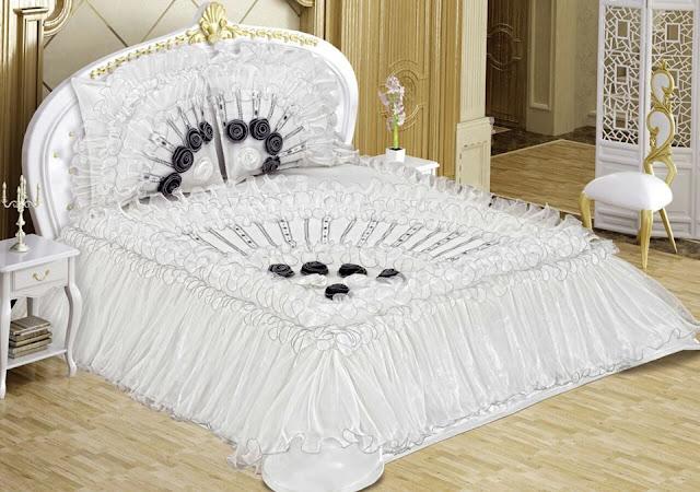 siyah beyaz gelinlik çeyizlik yatak örtüleri
