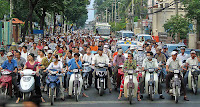 Atasco de motos en Vietnam
