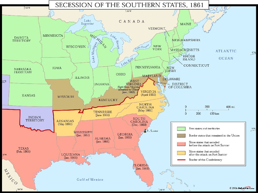map of united states 1861