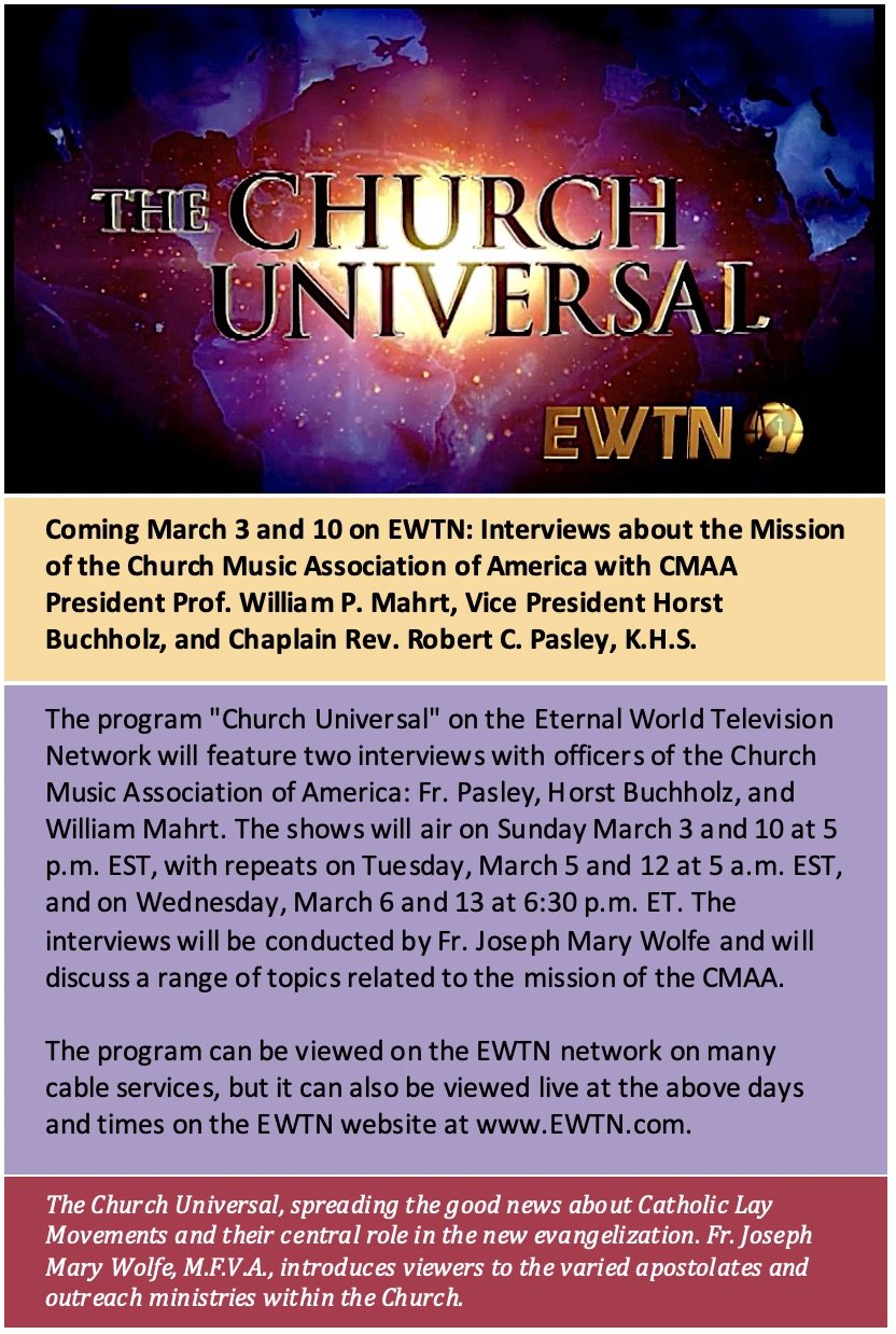 New Liturgical Movement: Interview with the CMAA Coming up on EWTN