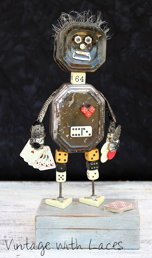 Found Object Sculpture. The Gambler Roy Al Flush by Vintage with Laces