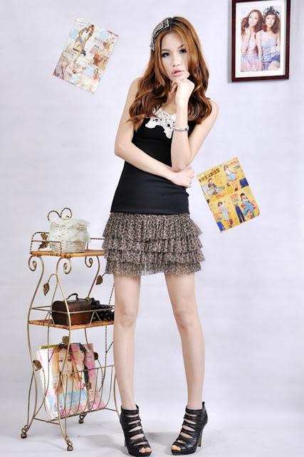 Model Rok Mini Pendek Sifon Korea Motif Bunga