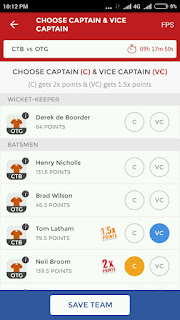 Captain and vice captain in dream11